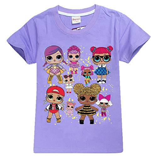 Mädchen T-Shirt Mit LOL Dolls Rocker, BFF Fancy & Fresh, Diva, Swag, Leading Baby Kinder Baumwoll Top (8377purple, 150(9-10Jahre))