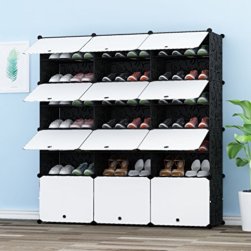 JOISCOPE PREMAG Portable Shoe Storage Organizer Tower, Modular Cabinet Shelving for Space Saving, Shoe Rack Shelves for shoes, boots, Slippers (3x 7-tier)