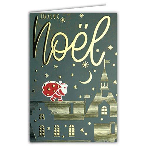 Karte Happy Weihnachten Papa Weihnachtsmann Tasche Dunstabzugshaube Geschenke Dachdach Kamine Haus Kirche Himmel Mond Sterne Gold Vergoldung