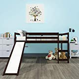 P PURLOVE Loft Bed with Slide Wood Loft Bed Frame Twin Bed Multifunctional Design for Kids, Twin Size (Espresso)
