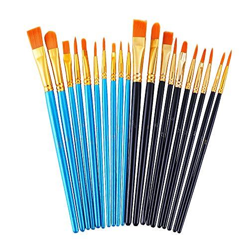 DAIKOYE Acrylic Paint Brushes Set, 20 Pcs Artist Paintbrushes Paint Brushes for Acrylic Oil Watercolor, Face Nail Art, Canvas Body Rock Painting Kit(Blue and Black,20 Packs)
