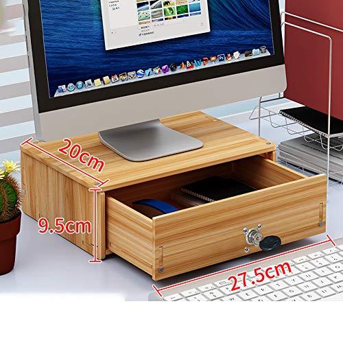 Uu-focus Tv Computer Laptop Monitorständer,mit Schubladen Stauraum Schreibtisch Organizer,Holz Bildschirmständer Kirschholz-d Mit Schloss