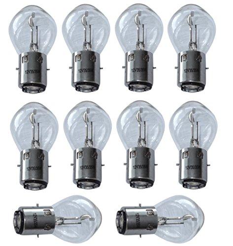 Aerzetix: 10 x Birnen Lampen B35 BA20D 12V 35 / 35W für Motorradroller C18861