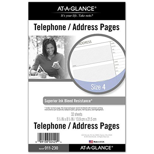 AT-A-GLANCE Day Runner Telephone and Address Pages, Refill, Loose-Leaf, Undated, for Planner, 5-1/2' x 8-1/2', Size 4, 32 Sheets/Pack (011-230)