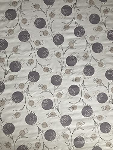 Vinyl Pvc Tablecloth 54 inch Round (137 cm) Silver Grey Dandelions design on an Off White Ground To fit up to a 4 Seater Size Circular table, Wipe Clean, Textile Backed Plastic Table Cloth (339)