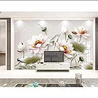 Bosakp 3Dレリーフ蓮ヴィンテージ水彩蓮の葉の壁紙壁画リビングルームソファテレビ壁寝室キッチンカフェ 280X200Cm