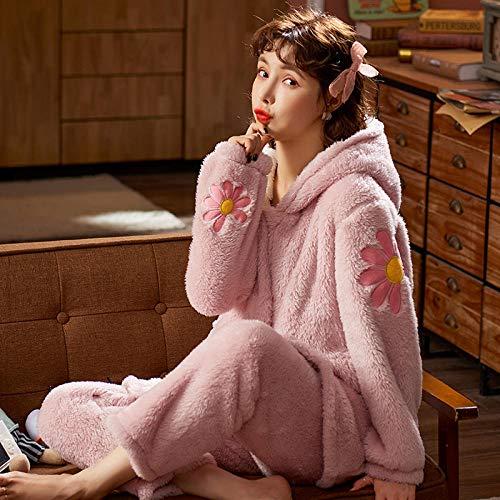 Cxypeng Damen Pyjama-Set aus Flanell,Damen Winter dicken Korallen Samt Pyjamas,...