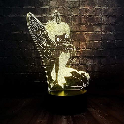 Pretty Elf 3D Led Night Light, 3D Optical Illusion Vision Light, 7 Gradient Smart Touch Desk Lamp Lamp, Convient comme cadeau pour les enfants, les bébés, les garçons ou les filles