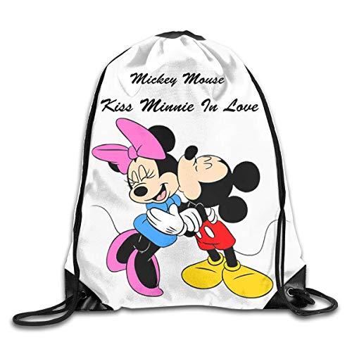 LREFON Micky And Minnie Kiss Drawstring Bag Gym Backpack Man Women Sport Storage Shoulder Bag