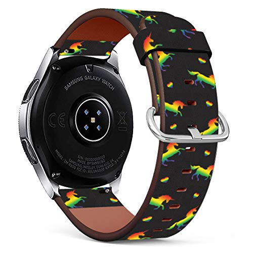Replacement Leather Printing Wristbands Compatible with Galaxy Watch3 (45mm) / Galaxy Watch (46mm), Standard 22mm Strap - LGBT Unicorn Lesbian Gay Pride Rainbow Pattern