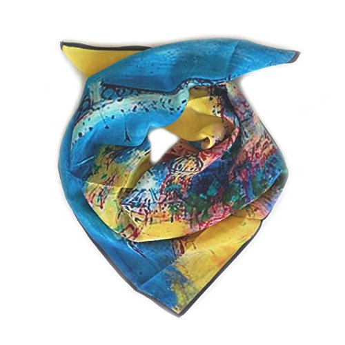 Kopftuch QUADRATISCH Crêpe aus 100% Seide. 68cm x 68cm. Farbe gelb, blau etc.