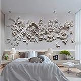 QThxqa 3D Stereoscopico Gesso In Rilievo Fiore Carta Murale Camera Da Letto Pittura murale papier de soie Decorazione sul Muro Photo Wall Mural-200X140CM