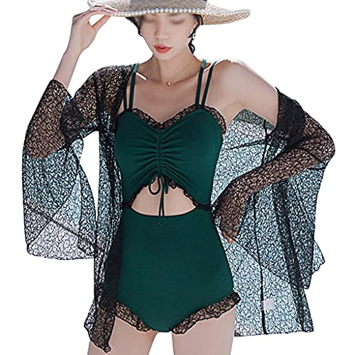 YHRJ Badeanzüge für Damen 2-teiliger Poolparty-Bikini, Sexy rückenfreies Schwimmoutfit mit Oberhemd, Schlanker Schwimmanzug mit Spitze (Color : ArmyGreen-XL)