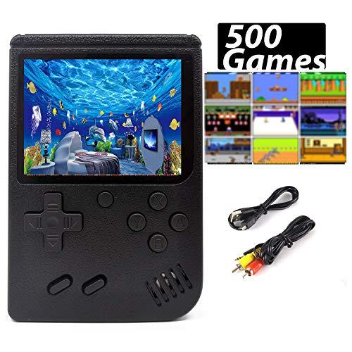 Handheld Spielkonsole, Retro Konsole transportabel 500 Klassische Spiel TV-Spielekonsolen AV Kabel 3 Zoll Bildschirm Game (Schwarz)