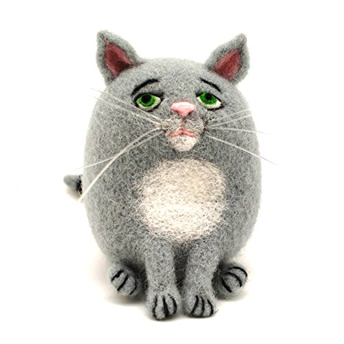 Gato Lana de Merino Kit de Felting Lana Fieltro 7x6cm - Instrucción de Video