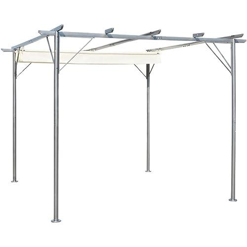 vidaXL Garden Pergola Retractable 9.8'x9.8' Gazebo Outdoor Canopy Shade Roof