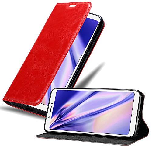 Cadorabo Hülle für BQ Aquaris C in Apfel ROT - Handyhülle mit Magnetverschluss, Standfunktion & Kartenfach - Hülle Cover Schutzhülle Etui Tasche Book Klapp Style
