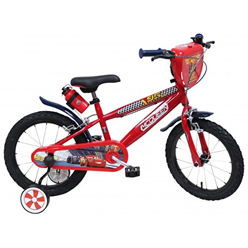Disney - Vélo Enfant garçon Cars Flash McQueen - 16 Pouces (5/7 Ans) - Coloris Rouge - (Distributeur Officiel)