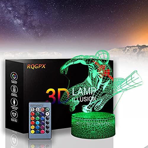 Lámpara de ilusión 3D Spiderman Night Light para niños, 16 colores cambiando con control remoto, regalo de cumpleaños y vacaciones para niños niñas