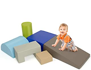 Costzon 6-Piece Kids Crawl and Climb Foam Play Set, Colorful Baby's Foam Blocks to Crawling, Climbing, Walking, Children's Educational Software Composite Toy for Toddlers, Preschoolers (Woodland)