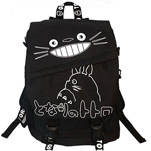 F.Dorla 'Il mio vicino Totoro', in tela, Zaino per scuola, borsa/zaino da viaggio, in stile Casual, Cartoon Schoolbag Oxford-Borsa a tracolla, borsa per Laptop, colore: Nero