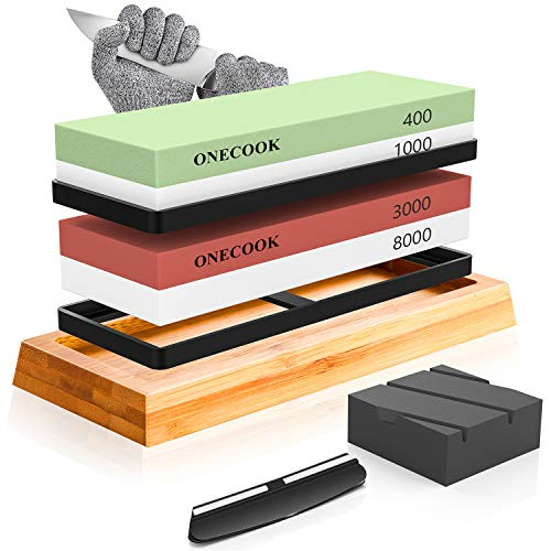ONECOOK Knife Sharpening Stone Set 400/1000 3000/8000, Precise 4 Side Grit Whetstone Knife Sharpening, Non-slip Bamboo Base, Coarse Flattening Stone, Angle Guide and Cut Resistant Gloves