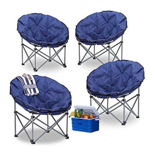 4X Campingstuhl Moonchair, 120 kg belastbar, XXL Campingsessel, faltbar, Tragetasche, dunkelblau, HBT: 77 x 82 x 70 cm