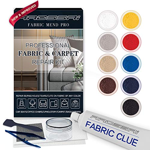 ARCSSAI Fabric and Carpet Repair Kit/Fiber Fix - Repairer Sofa Car Seat, Couch, Furniture,Affordable Upholstery or Jacket - Fixes Cigarette Burn Holes, Tear or Rips. Easy to Match Any Color, Pattern