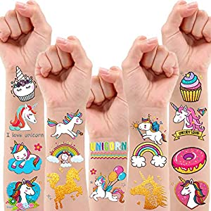 30 Styles Metallic Glitter Temporary Tattoos for Kids,Unicorn Birthday Party Supplies Decorations for Girls, Rainbow…