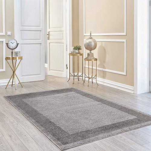 mynes Home Teppich Kurzflor Grau einfarbig Modern Wohnzimmerteppich Wohnzimmer Umrandung Bordüre Designer (120cm x 170cm)