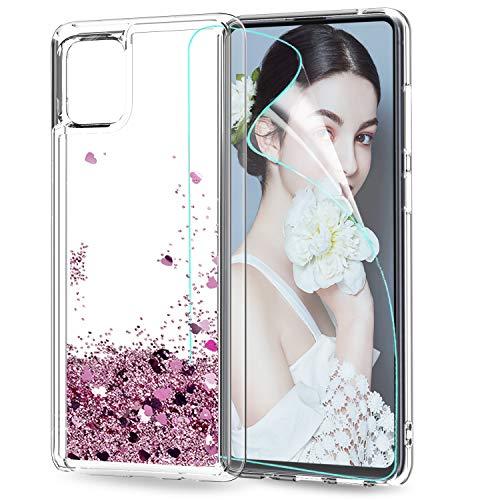 Funda Samsung Galaxy Note 10 Lite / A81 Silicona Purpurina Carcasa con HD Protectores de Pantalla,LeYi Transparente Cristal Bumper Telefono Gel TPU Case Cover para Movil Samsung Galaxy A81 ZX