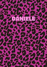 Daniele: Personalized Pink Leopard Print Notebook (Animal Skin Pattern). College Ruled (Lined) Journal for Notes, Diary, Journaling. Wild Cat Theme Design with Cheetah Fur Graphic