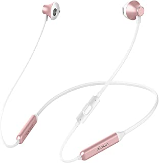 Picun 10 Hrs Playtime Wireless Headphones Bluetooth Neckband Headset, HiFi Bass Sports Sweatproof Noise Cancelling Stereo Magnetic Earphones with Mic, 13 MM Driver, for Workout Running Gym (Rose Gold)