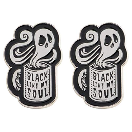 CoSunny Black Like My Soul Ghost Kaffeetasse Anstecknadel 2-teiliges Set Emaille Brosche Anstecknadeln Anstecknadel Kleidung Zubehör Geschenke