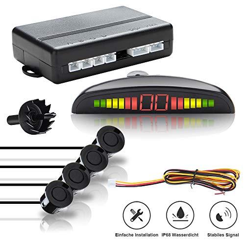 Hengda KFZ Summer Einparkhilfe Rückfahrhilfe PDC und LED Farb Display 4 Schwarz hinten Sensoren