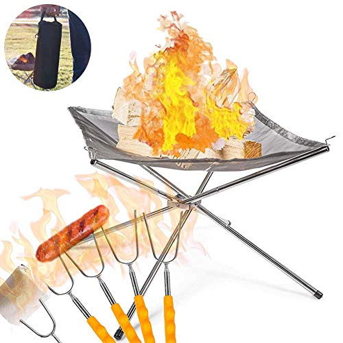FXQIN Portable Camping Stainless Steel Mesh Fireplace, Ultra Foldable Fire Pit with Carrying Bag, Perfect for Camping, Outdoor, Backyard and Garden