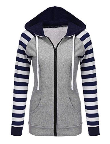 Chigant Damen Kapuzenpullover Sweatshirt Sweatjacke Streifen Patchwork Jacke für Herbst Winter XXL Blau