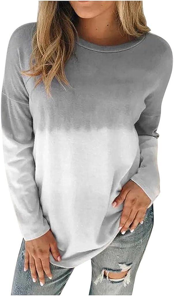 Haheyrte Cute Hoodies for Women Plus Size Tie-Dye Printed Gradient Pullover Long Sleeve Sweatshirt Tops Casual Sweaters