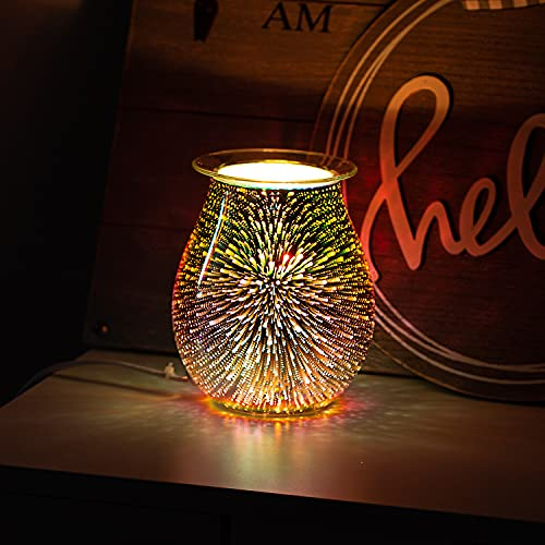 COOSA 3D Glass Electric Wax Melt Warmer Scented Wax Warmer Candle Warmer,Fragrance Night Light,Ideal for Home Office Aromatherapy (2 Warm Light Bulbs Included)