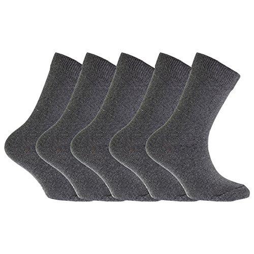 Floso FLOSO® Kinder Schul Socken Unifarben (5 Paar) (37-40 EU) (Grau)
