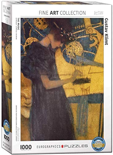 The Music by Gustav Klimt 1000 Piece Puzzle Jigsaw Puzzle 19 x 27in