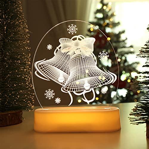 BLOOMWIN Luce Notturna Natalizia 3D Lampada da Comodino a LED USB Luci Decorative per Natale Illuminazioni per Bambini Camera da Letto Scrivania