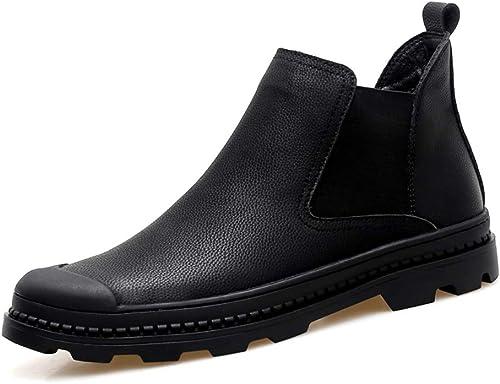 Mode pour hommes Bottes Chelsea Casual Classique Haut Haut Style dur en molleton chaud à l'intérieur de la bottine (Classique En option) ,Chaussures de cricket ( Couleur   Noir , Taille   41 EU )