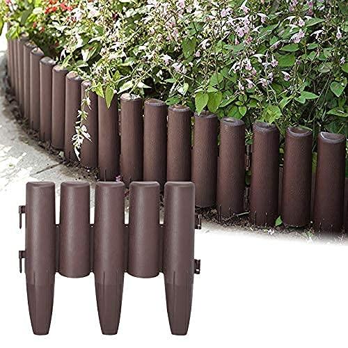 AufuN Holzoptik Kunststoff Rasenkante 8,4m Garden Border aus Polypropylen, Mähkante Beetumrandung Palisade Garten dekorativ, 1 Element BxHxT: 28x24x1 cm, Braun