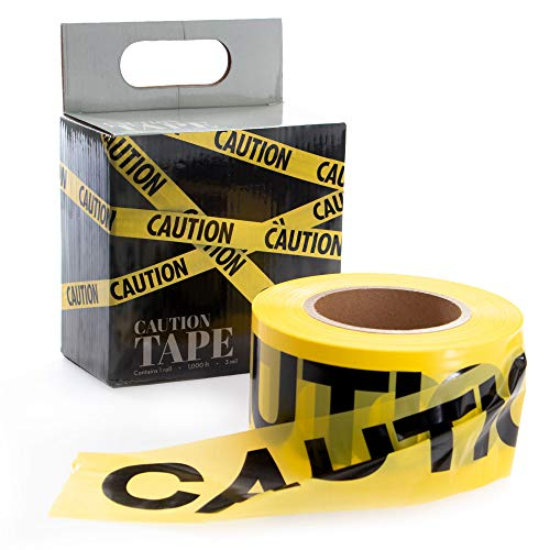 Yellow Caution Tape, 1000ft - Halloween Decoration for Haunted Houses, Crime Scene Settings, Yard Decor, Safety Sites, Halloween Parties, Warning Signs, & Danger Warnings - Haunted House Decorations