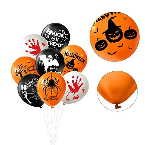 FEPITO Set di Decorazioni per Feste di Halloween comprende 18 Palloncini di Halloween e 6 ventagli di Carta appesi in Bianco e Nero per i rifornimenti di Decorazioni per Feste di Halloween