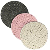Potholders, Christmas Girt Kitchen Pot Holders Heat-resistant Thick Handmade Trivets Set of 3 Hot Coasters,...