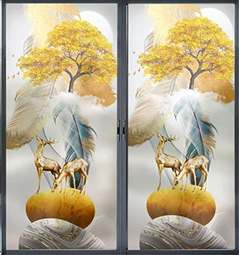 Fenster Statisch Folie Selbstklebend, 3D Psychedelisch Elch Blickdicht Sichtschutz Folie Entfernbar PVC Milchglas Aufkleber für Bad Küche Privatsphäre Schutz Anti-UV,A,60x120cm