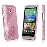 HTC One (E8) Case, BoxWave [Glamour & Glitz Case] Slim, Snap-On Glitter Cover for HTC One (E8) - Princess Pink