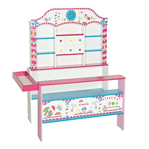 roba Kaufladen 'Candy-Shop', Kinder Süßigkeiten- & Kaufmannsladen, Verkaufsstand bedruckt mit 6 Schubladen, Uhr, Theke & Seitentheke